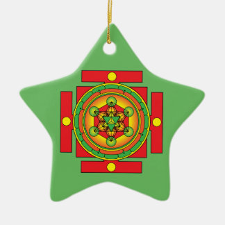 Ornamento De Cerâmica Mandala de Merkaba do cubo de Metatron
