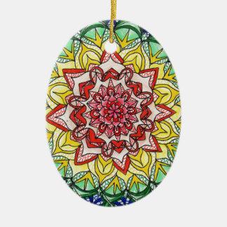 Ornamento De Cerâmica Mandala do arco-íris