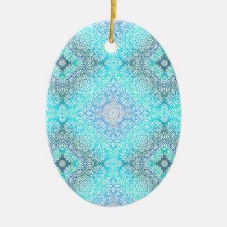 Ornamento De Cerâmica Mandala do laço de turquesa