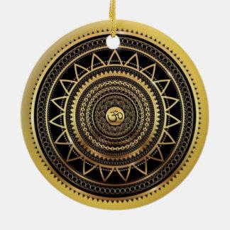 Ornamento De Cerâmica Mandala do símbolo de OM brilhante elegante do