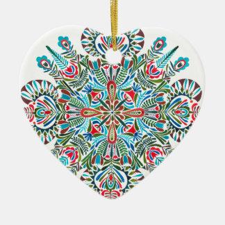 Ornamento De Cerâmica Mandala em vermelho e claro verdes - azul