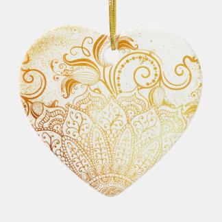 Ornamento De Cerâmica Mandala - escova dourada