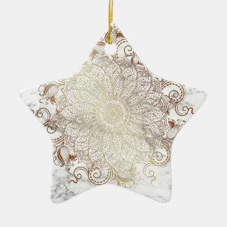 Ornamento De Cerâmica Mandala - ouro & mármore