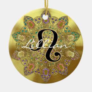 Ornamento De Cerâmica Mandala personalizada de Leo do sinal do zodíaco