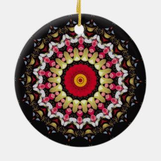 Ornamento De Cerâmica Mandala preta e vermelha mágica