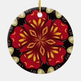 Ornamento De Cerâmica Mandala tropical das flores e das borboletas