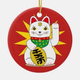 Ornamento De Cerâmica Maneki afortunado Neko que Beckoning o gato da