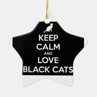 Ornamento De Cerâmica Mantenha a calma e ame gatos pretos