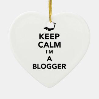 Ornamento De Cerâmica Mantenha a calma que eu sou um blogger