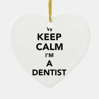 Ornamento De Cerâmica Mantenha a calma que eu sou um dentista