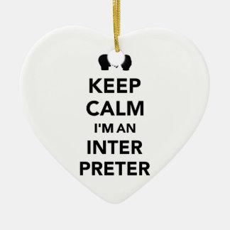 Ornamento De Cerâmica Mantenha a calma que eu sou um intérprete
