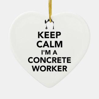 Ornamento De Cerâmica Mantenha a calma que eu sou um trabalhador
