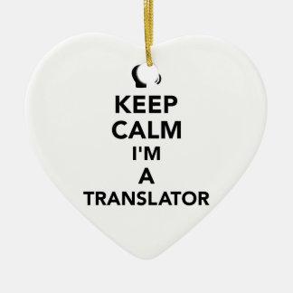 Ornamento De Cerâmica Mantenha a calma que eu sou um tradutor