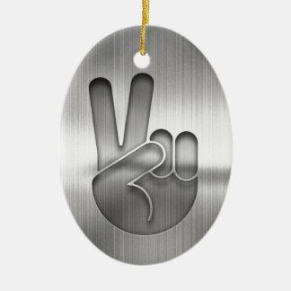 Ornamento De Cerâmica Mão da paz do cromo