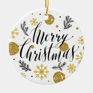 Ornamento De Cerâmica Mão dourada do Feliz Natal do brilho baseado num