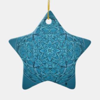 Ornamento De Cerâmica Mão feita sob encomenda mandala azul tirada