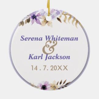 Ornamento De Cerâmica Mão roxa violeta quadro floral tirado