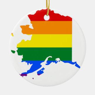 Ornamento De Cerâmica Mapa da bandeira de Alaska LGBT