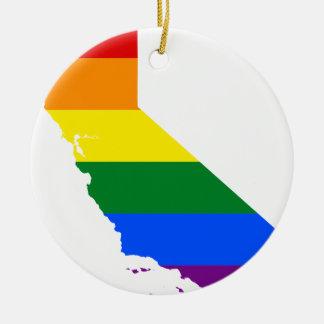 Ornamento De Cerâmica Mapa da bandeira de Califórnia LGBT