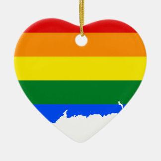 Ornamento De Cerâmica Mapa da bandeira de Connecticut LGBT