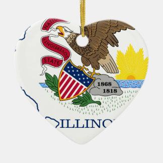 Ornamento De Cerâmica Mapa da bandeira de Illinois