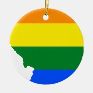 Ornamento De Cerâmica Mapa da bandeira de Illinois LGBT