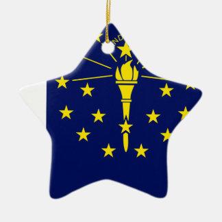 Ornamento De Cerâmica Mapa da bandeira de Indiana