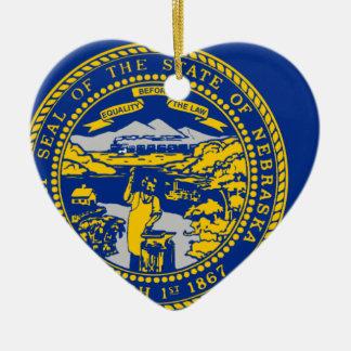 Ornamento De Cerâmica Mapa da bandeira de Nebraska