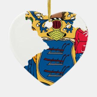 Ornamento De Cerâmica Mapa da bandeira de New-jersey