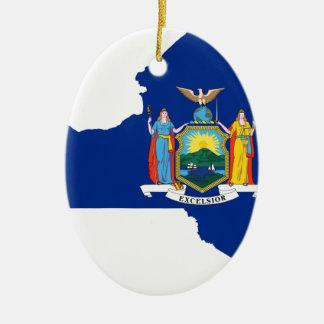 Ornamento De Cerâmica Mapa da bandeira de New York