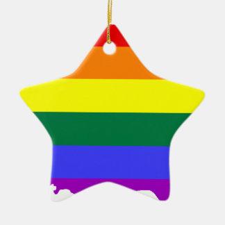 Ornamento De Cerâmica Mapa da bandeira de Puerto Rico LGBT