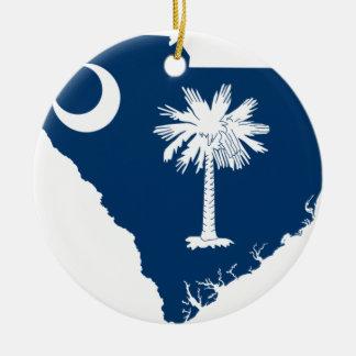 Ornamento De Cerâmica Mapa da bandeira de South Carolina