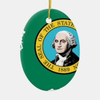 Ornamento De Cerâmica Mapa da bandeira de Washington