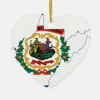 Ornamento De Cerâmica Mapa da bandeira de West Virginia