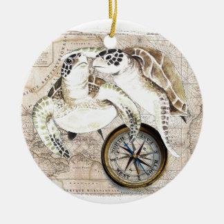 Ornamento De Cerâmica Mapa de compasso das tartarugas de mar