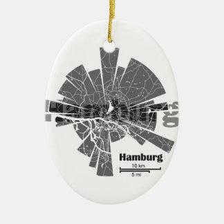 Ornamento De Cerâmica Mapa de Hamburgo