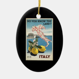 Ornamento De Cerâmica Mapa de Italia das viagens vintage com limões