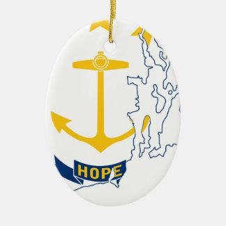 Ornamento De Cerâmica Mapa de Rhode - ilha da bandeira