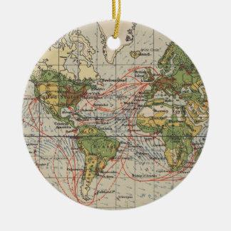 Ornamento De Cerâmica Mapa de rotas da navigação do mundo do vintage