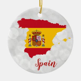 Ornamento De Cerâmica Mapa de Sinalizador da Espanha Espanhola