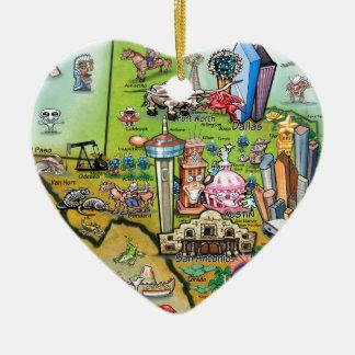 Ornamento De Cerâmica Mapa do divertimento de Texas