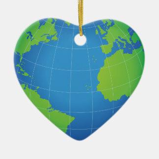 Ornamento De Cerâmica Mapa do globo do mundo
