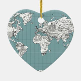Ornamento De Cerâmica mapa do mundo 10
