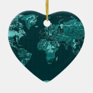 Ornamento De Cerâmica mapa do mundo 11