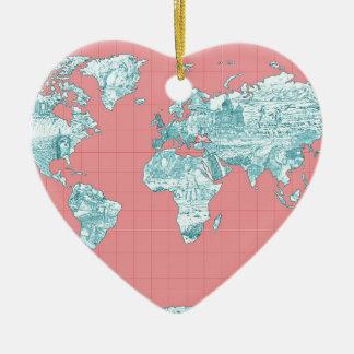 Ornamento De Cerâmica mapa do mundo 7