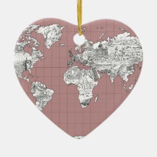 Ornamento De Cerâmica mapa do mundo 8