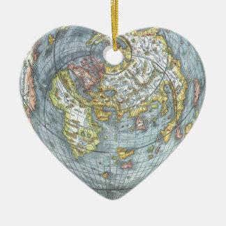 Ornamento De Cerâmica Mapa do mundo antigo dado forma coração Peter do