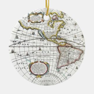 Ornamento De Cerâmica Mapa do mundo antigo por Hendrik Hondius, 1630