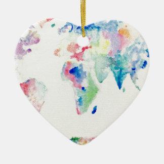 Ornamento De Cerâmica mapa do mundo da cor de água