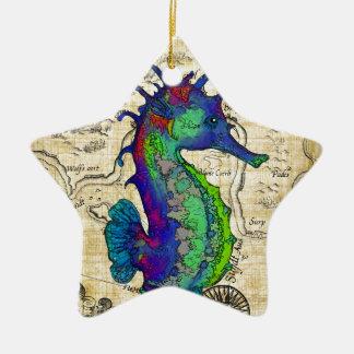 Ornamento De Cerâmica mapa do papiro do cavalo marinho